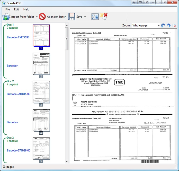 scan 3 pages into one document