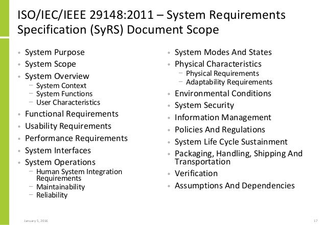 system requirements specification document example
