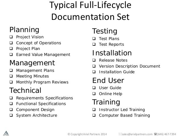 technical writing documentation on software projects