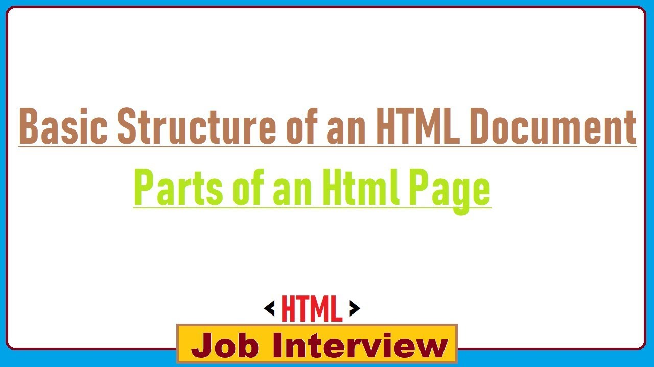 what is the basic structure of an html document