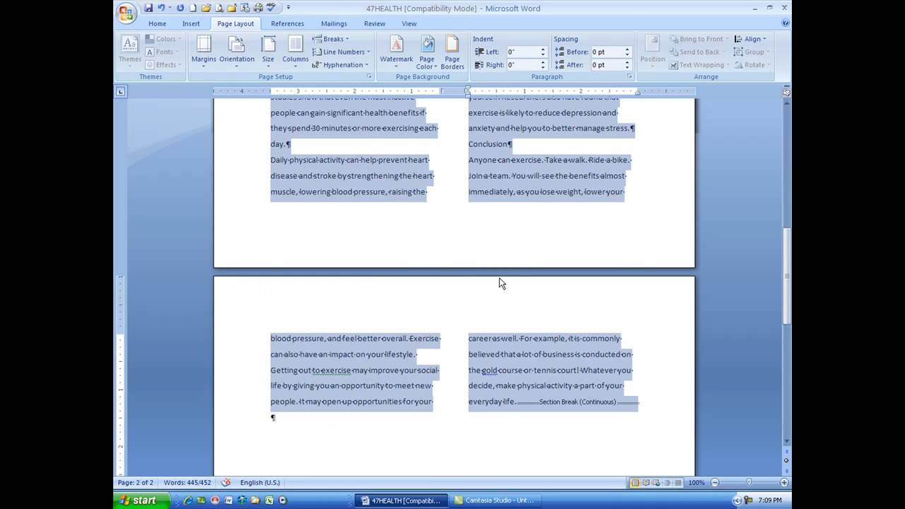 word document equal sized columns