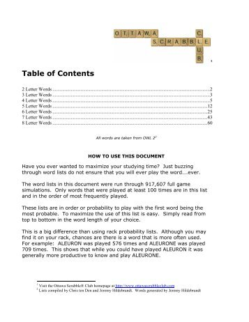 word document list of tables